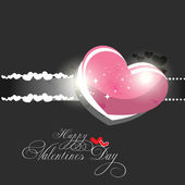 Beautyful shiny heart valentines day festivel with dark gray bac — Stock Vector