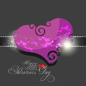 Beautyful dark pink color valentines day background with swirl h — Stock Vector