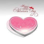 Beautyful shiny heart valentines day festivel with gray backgrou — Stock Vector