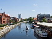 Bydgoszcz - sculpture upon The Brda river — Stock Photo