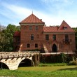 Foto Stock: Gothic castle in Oporow, Poland