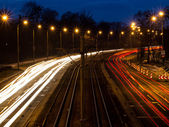 The light trails on the street — Stock Photo