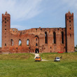 Ruins of old teutonic castle in Radzyn Chelminski, Poland — Stock Photo