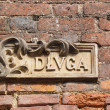 Old street name board, Gdansk, Poland — Stockfoto