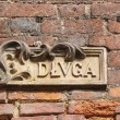 Old street name board, Gdansk, Poland — Stock Photo