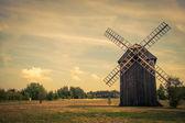 Vintage wooden Polish windmill, Maurzyce, Poland — Stock Photo