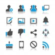 Social network icons - reflection theme - Stock Vector