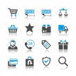 Stock Vector: E-commerce icons - reflection theme