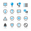 Stock Vector: Information and notification icons - reflection theme