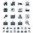 Real estate icons - reflection theme — Vector de stock #24465439