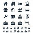 Real estate icons - reflection theme — Stock Vector