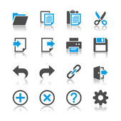 Application toolbar icons - reflection theme — Stock Vector
