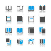 Book icons - reflection theme — Stock Vector