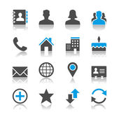 Contact icons - reflection theme — Stock Vector