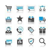 Icone ecommerce - tema di riflessione — Vettoriale Stock