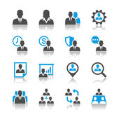 Human resource management icons - reflection theme — Stockvector