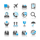 Logistics and shipping icons - reflection theme — Stock Vector