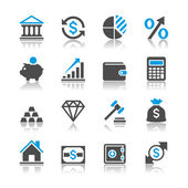 Financial investment icons - reflection theme — Stock Vector