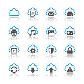 Cloud computing icons reflection theme — Stock Vector