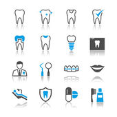 Dental icons reflection theme — Stock Vector