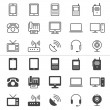 Communication device thin icons — Stock Vector