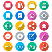 E-book reader flat color icons — Stock Vector