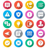Information and notification flat color icons — Stock Vector