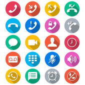 Telephone flat color icons — Stock Vector
