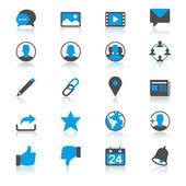 Red social con iconos de reflexión — Vector de stock