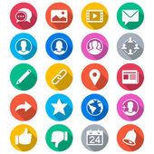 Social network flat color icons — Vettoriale Stock