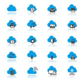 Cloud computing flat with reflection icons — Stock Vector