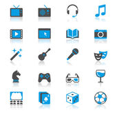 Entertainment flat with reflection icons — Stock vektor