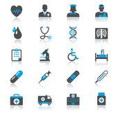 Hälso-och platt med eftertanke ikoner — Stockvektor