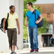Two Students walking and talking on campus — Stock Photo