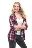 Beautiful Blonde Girl Smilig and Folding Her Arms — Stock Photo