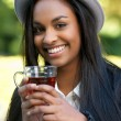 Beautiful Black Girl Drinking Tea — Stock Photo