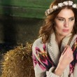 Stock Photo: Fashion Portrait of a Beautiful Farm Girl