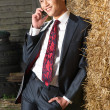 Handsome  and Happy Businessman on the Phone — Stock Photo