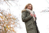 Beautiful Middle Aged Woman with a Smile in Winter — Stock Photo