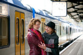 Friends Greeting Each Other at the Train Station — Stock Photo