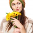 Adorable Young Woman with Yellow Flowers — Stock Photo #16322357