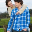 Happy Smiling Couple Outdoors — Stock Photo