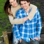 Smiling Happy Couple Outdoors — Stock Photo