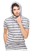 Male Model with Hooded Sweatshirt — Stock Photo