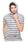 Mužský model s kapucí mikinu — Stock fotografie