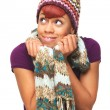 Happy African American Girl Holding Her Scarf — Stock Photo