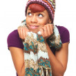 Happy African American Girl Holding Her Scarf - Stock Photo