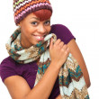 Cute African American Girl Wearing Hat and Scarf — Stock Photo