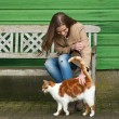 Girl and Cat — Stock Photo
