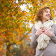 Older Woman Smiling in Autumn — Stock Photo